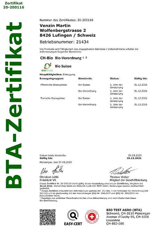 BIO Zertifikat Martin Venzin Wolfenberg
